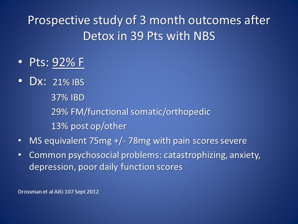 Prospective study of 3 month outcomes after Detox in 39 Pts with NBS
