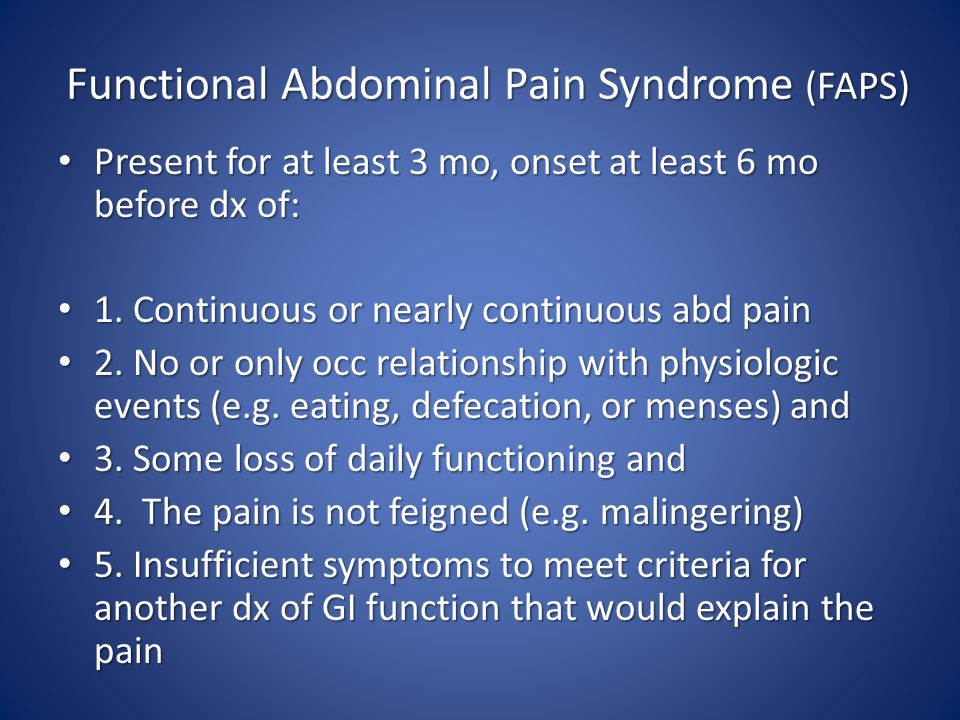 Functional Abdominal Pain Syndrome (FAPS)