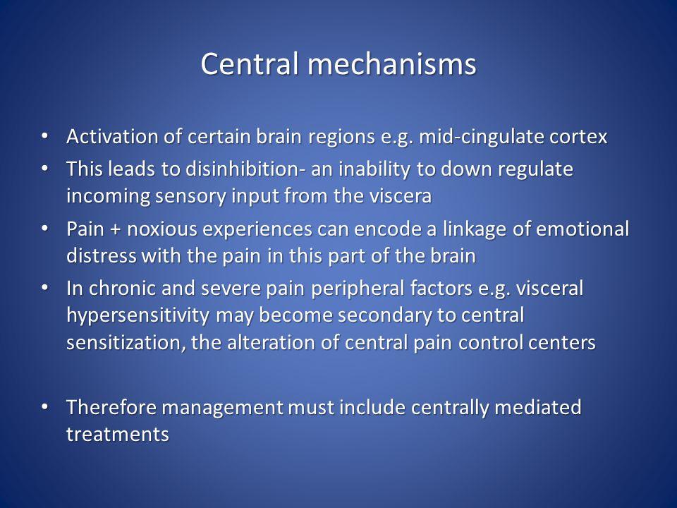 Central mechanisms Activation of certain brain regions e.g. mid-cingulate cortex.