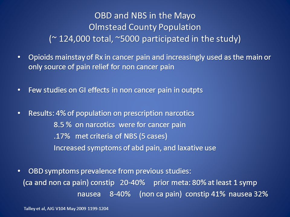 OBD and NBS in the Mayo Olmstead County Population (~ 124,000 total, ~5000 participated in the study)