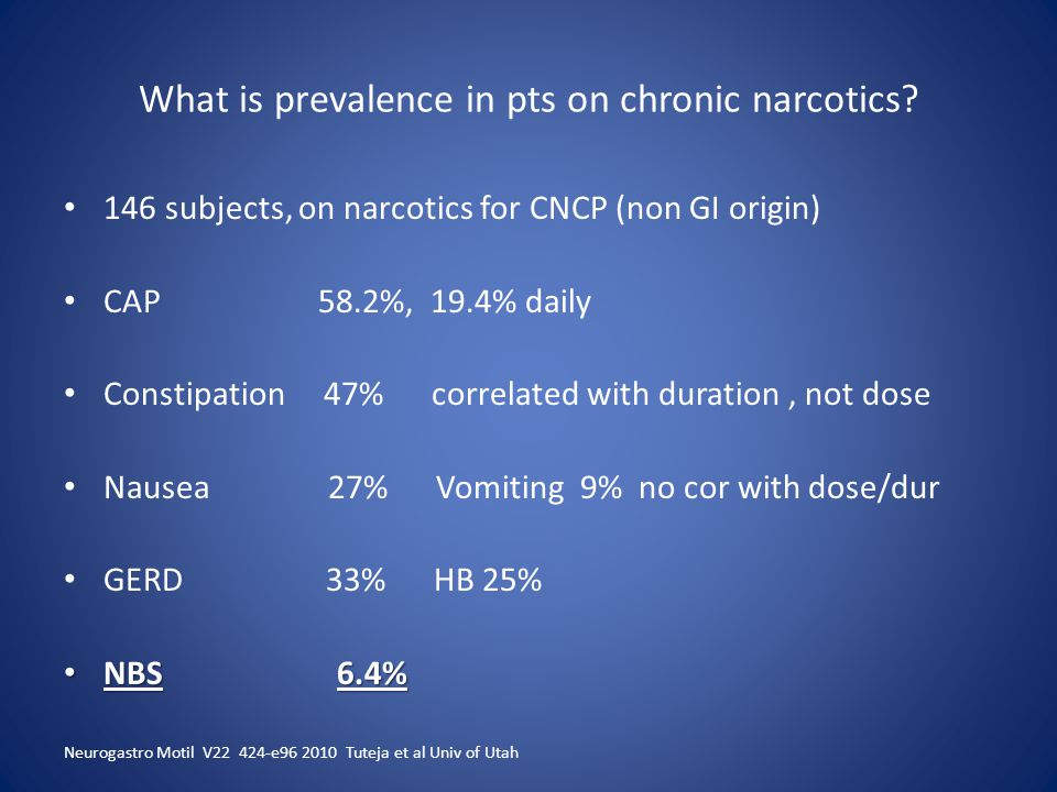 What is prevalence in pts on chronic narcotics