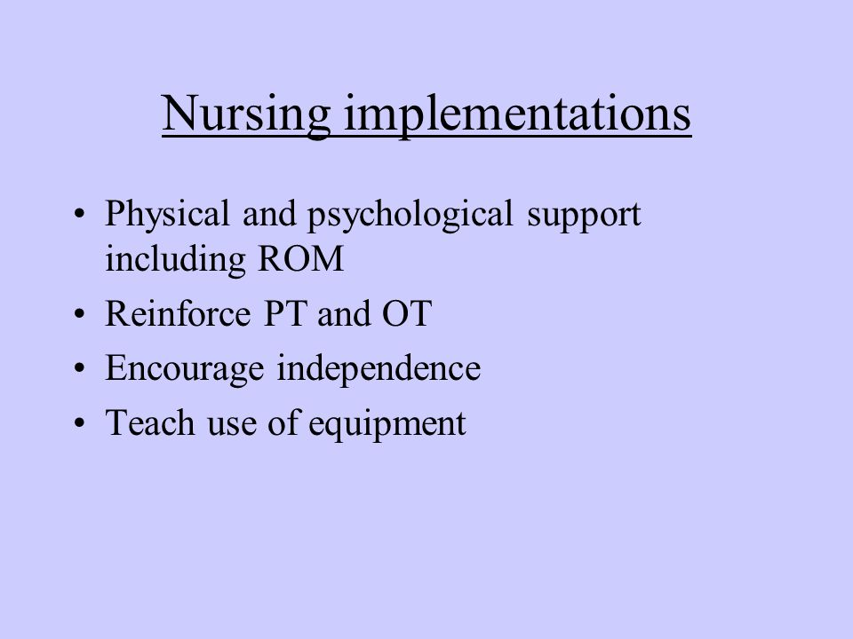 Nursing implementations