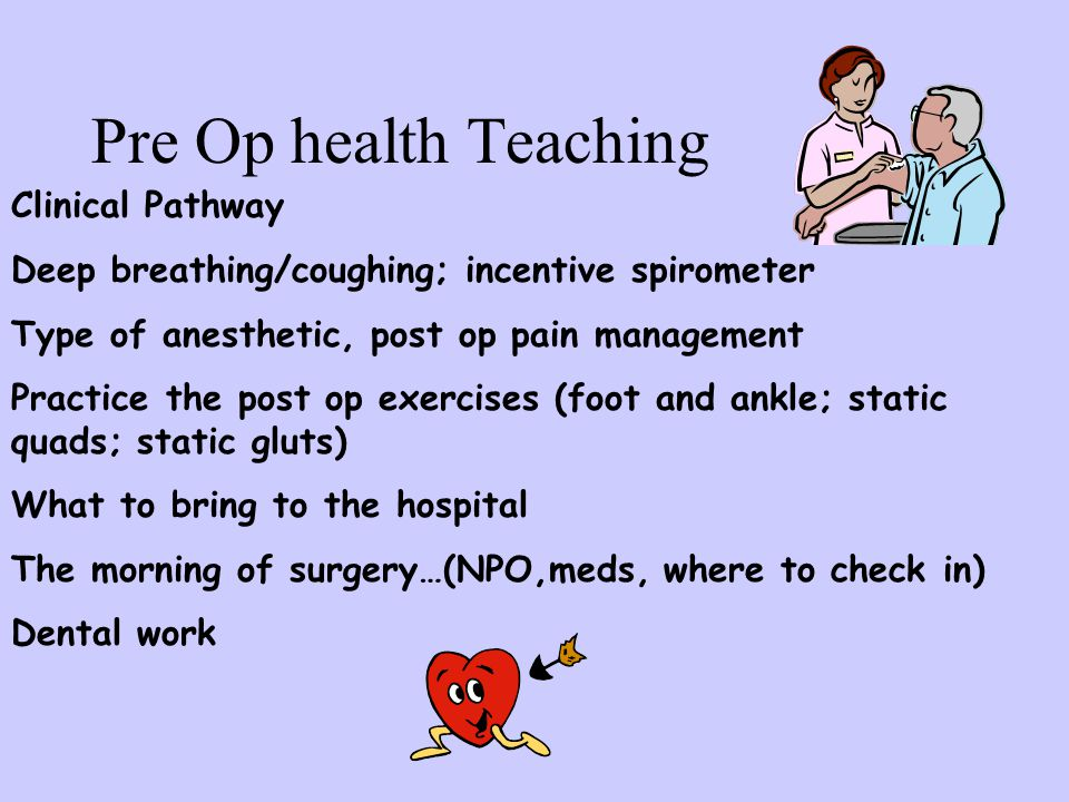 Pre Op health Teaching Clinical Pathway