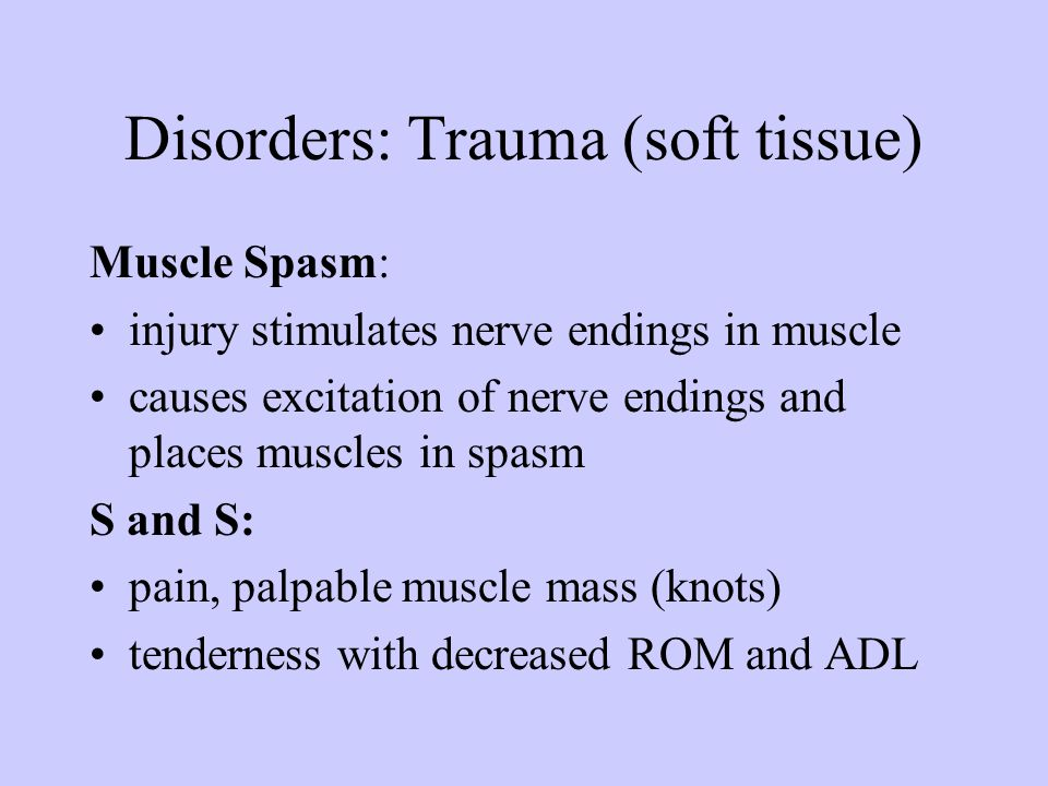 Disorders: Trauma (soft tissue)