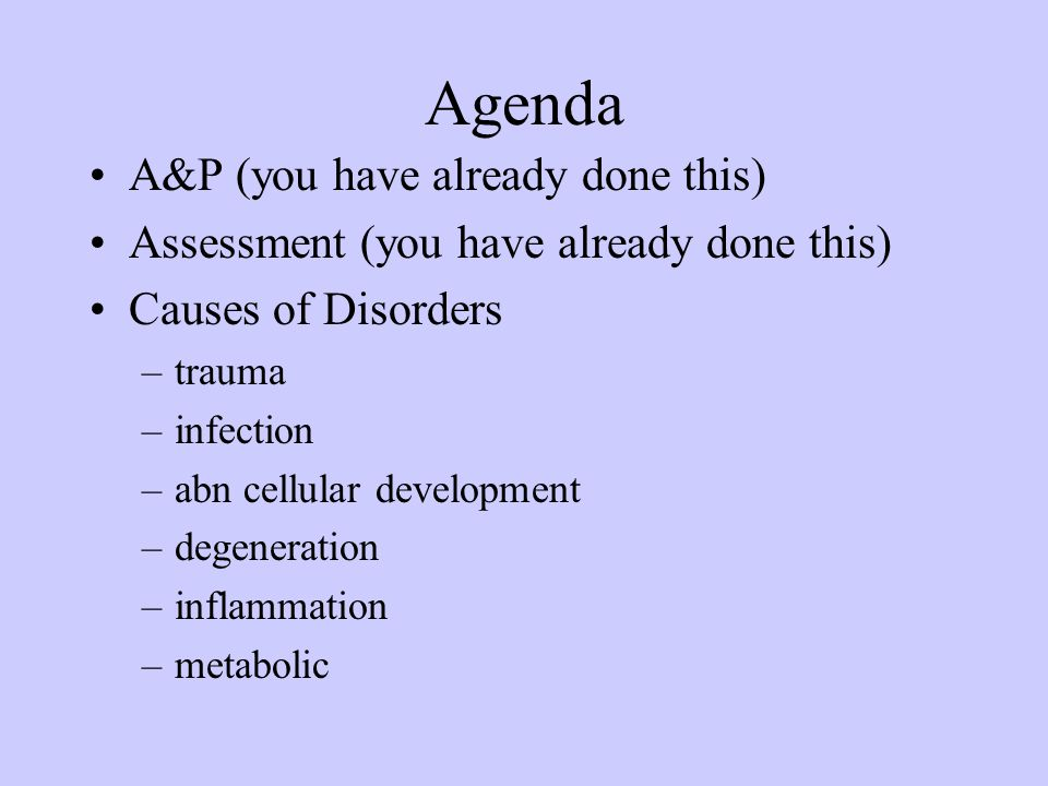 Agenda A&P (you have already done this)