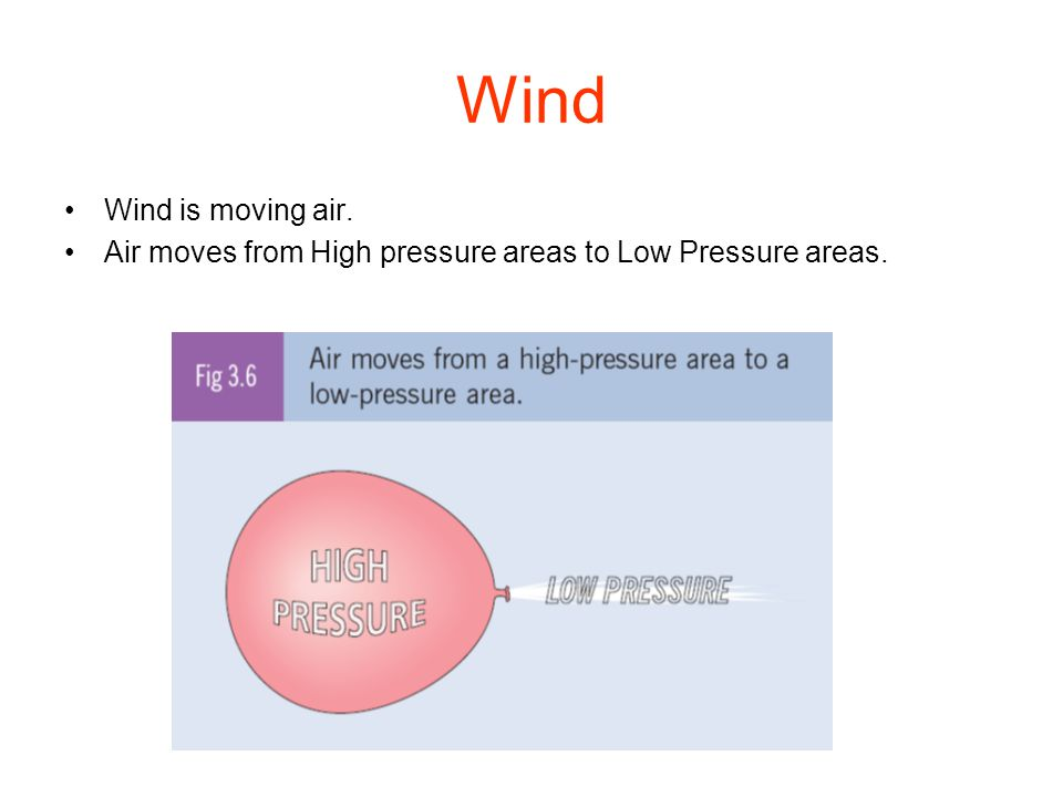 Wind Wind is moving air. Air moves from High pressure areas to Low Pressure areas.