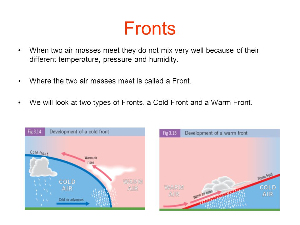 Fronts When two air masses meet they do not mix very well because of their different temperature, pressure and humidity.