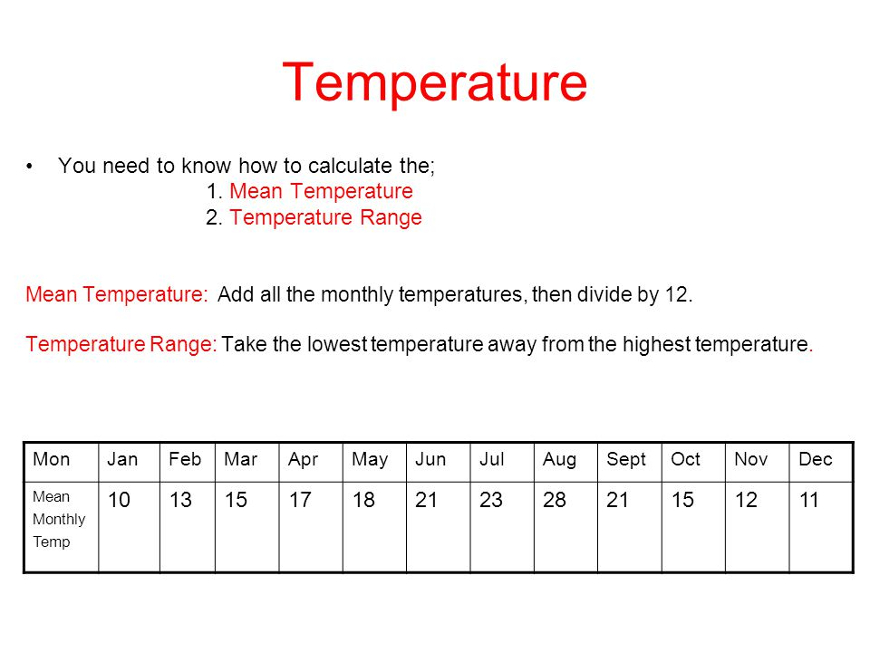 Temperature You need to know how to calculate the; 1. Mean Temperature