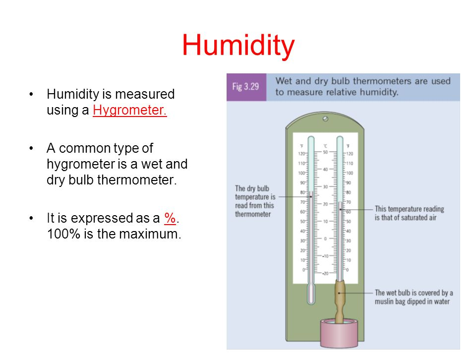Humidity Humidity is measured using a Hygrometer.