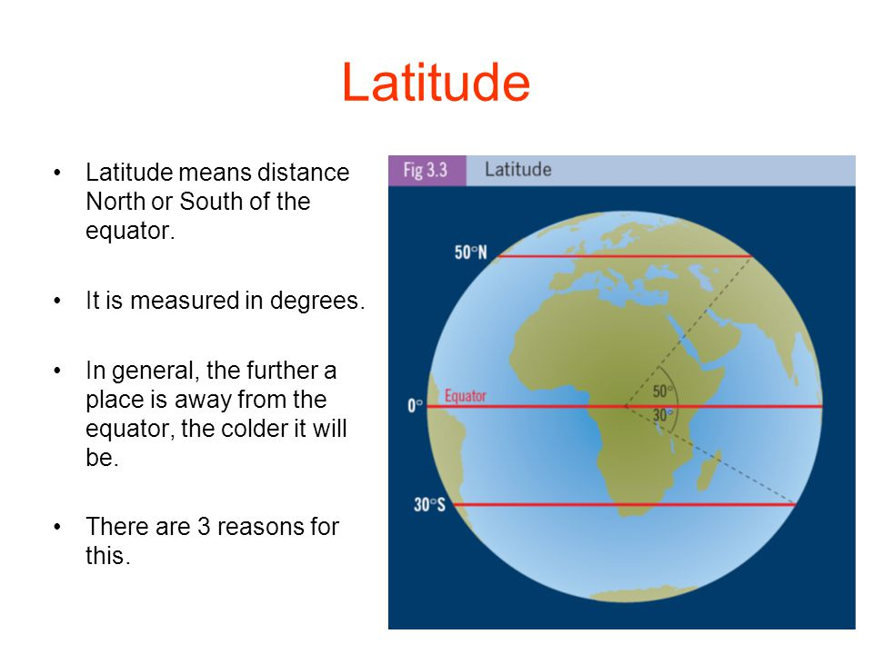 Latitude Latitude means distance North or South of the equator.