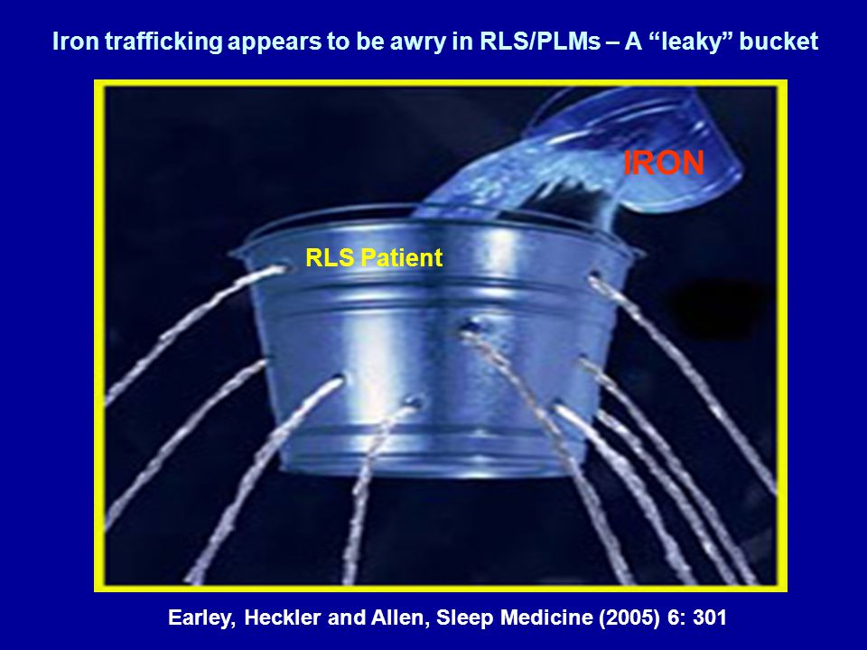 Iron trafficking appears to be awry in RLS/PLMs – A leaky bucket