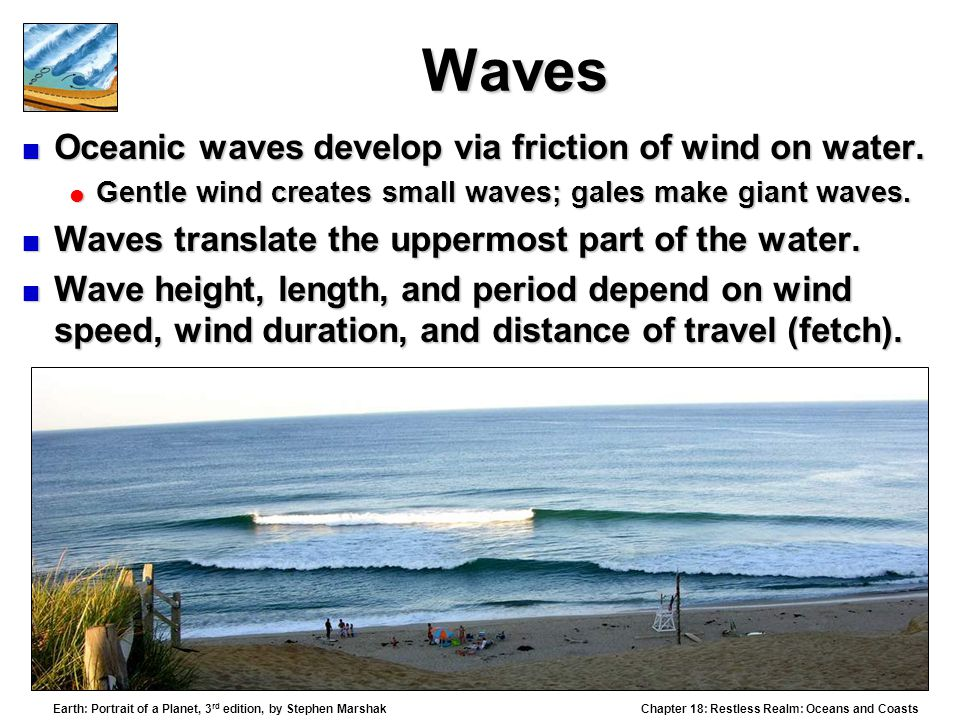 Waves Oceanic waves develop via friction of wind on water.