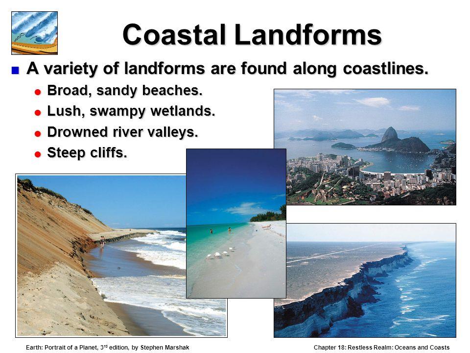 Coastal Landforms A variety of landforms are found along coastlines.