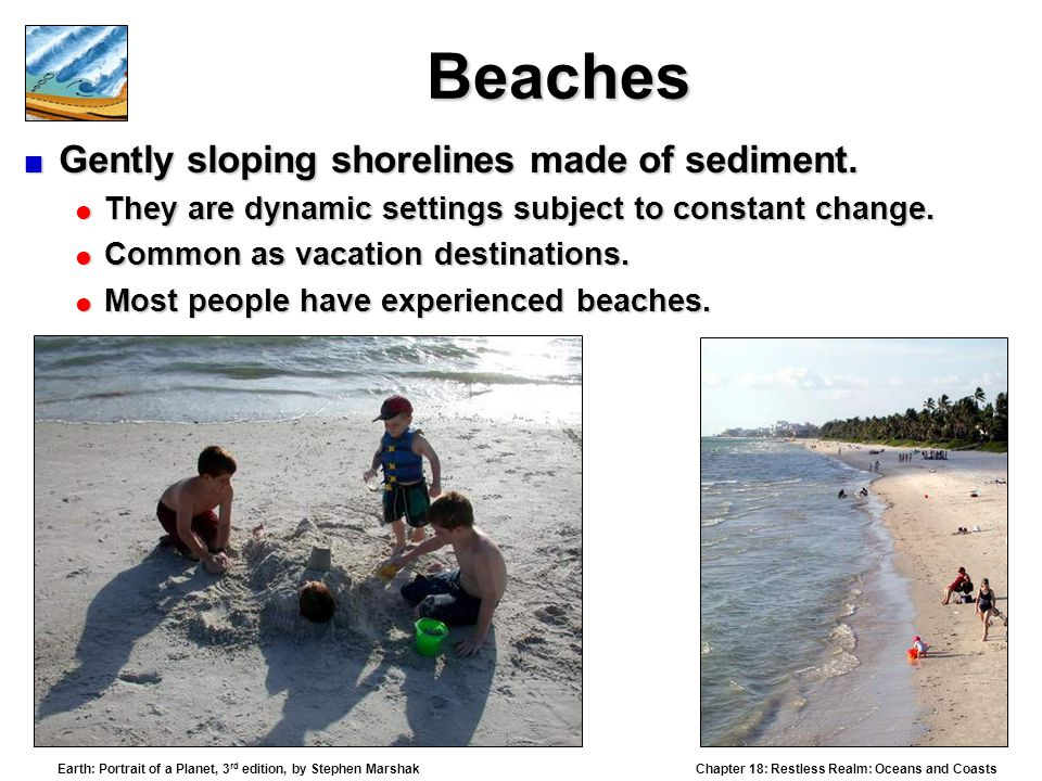 Beaches Gently sloping shorelines made of sediment.