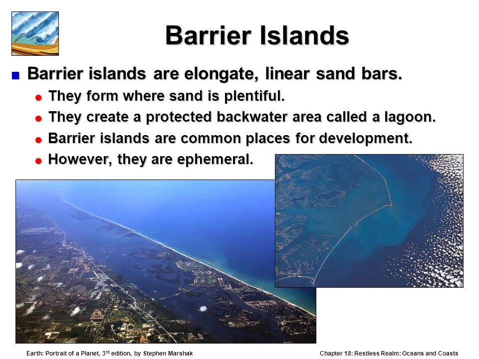 Barrier Islands Barrier islands are elongate, linear sand bars.