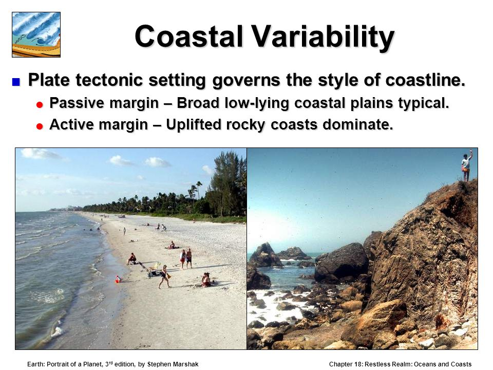 Coastal Variability Plate tectonic setting governs the style of coastline. Passive margin – Broad low-lying coastal plains typical.