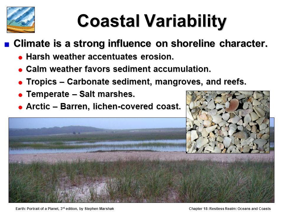 Coastal Variability Climate is a strong influence on shoreline character. Harsh weather accentuates erosion.