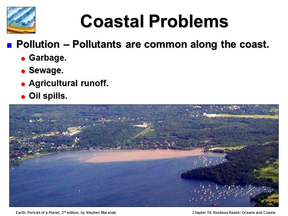 Coastal Problems Pollution – Pollutants are common along the coast.