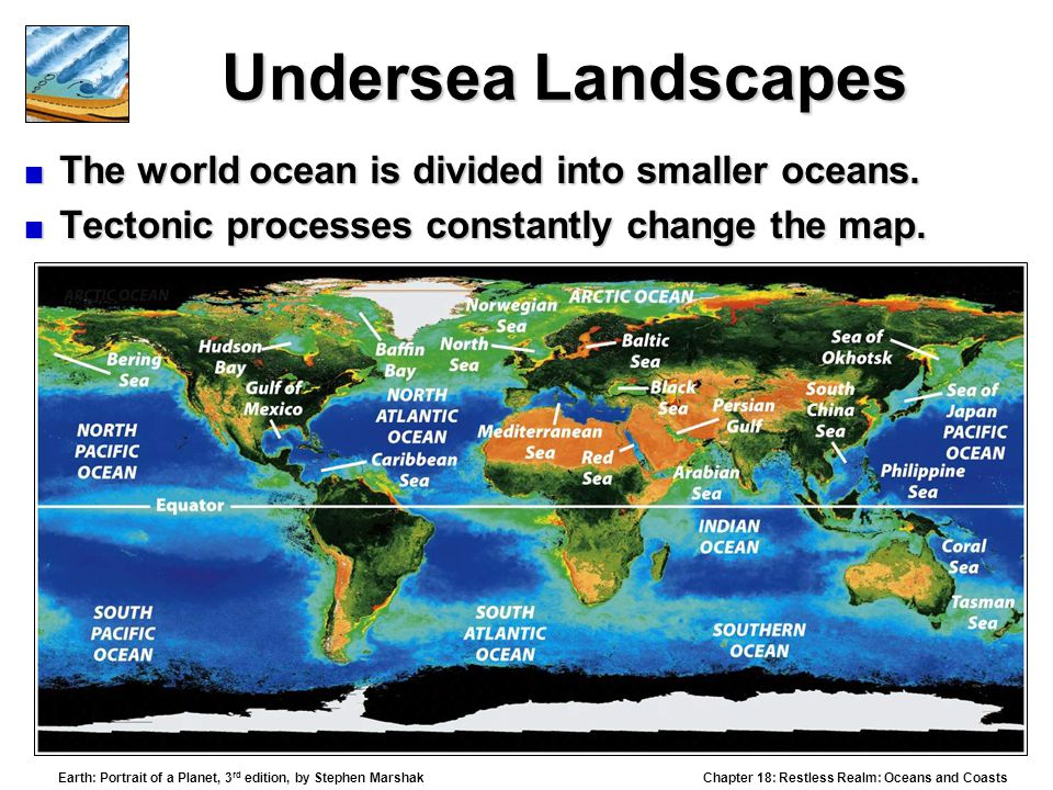 Undersea Landscapes The world ocean is divided into smaller oceans.