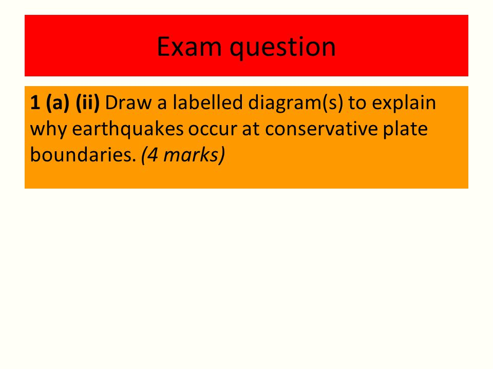 Exam question 1 (a) (ii) Draw a labelled diagram(s) to explain why earthquakes occur at conservative plate boundaries.