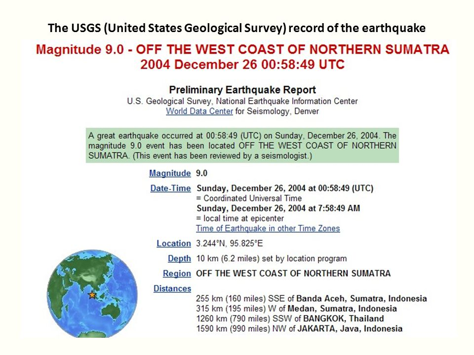 The USGS (United States Geological Survey) record of the earthquake