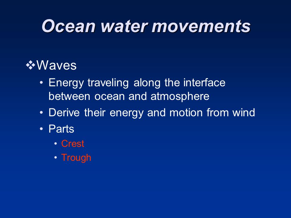 Ocean water movements Waves