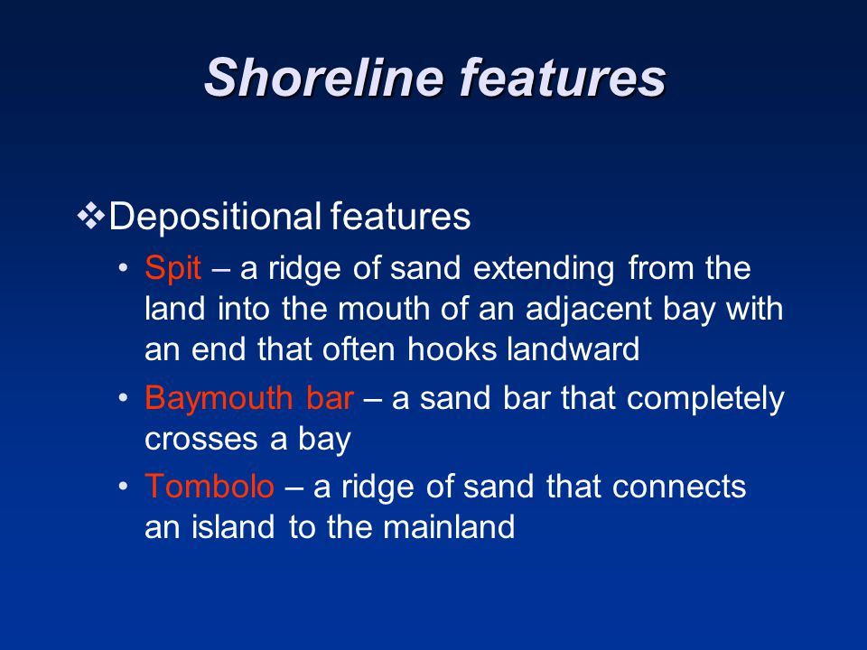 Shoreline features Depositional features
