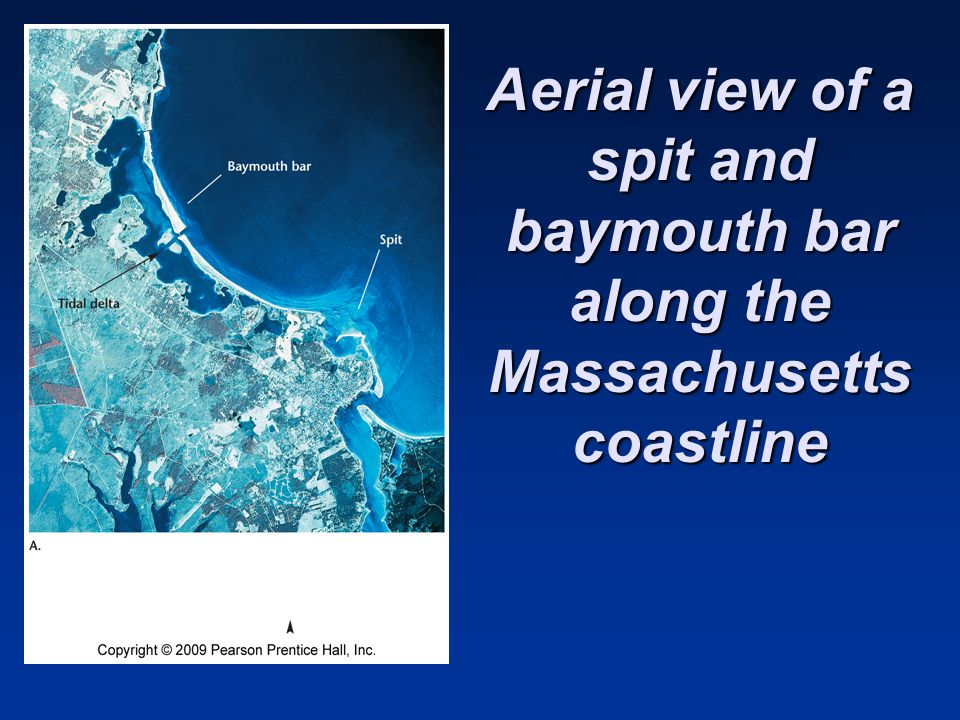 Aerial view of a spit and baymouth bar along the Massachusetts coastline