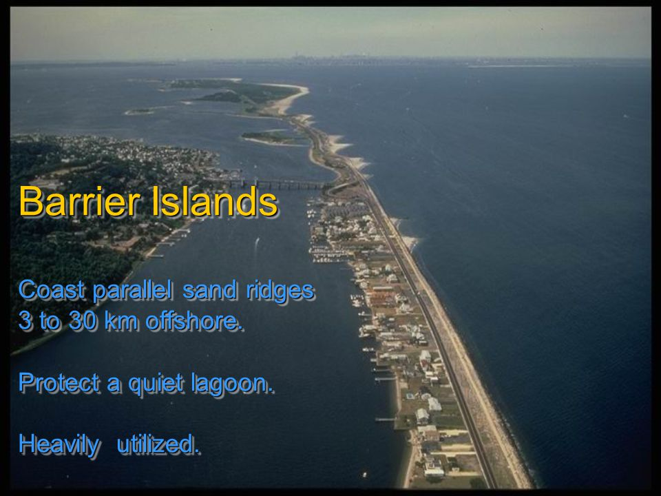 Barrier Islands Coast parallel sand ridges 3 to 30 km offshore