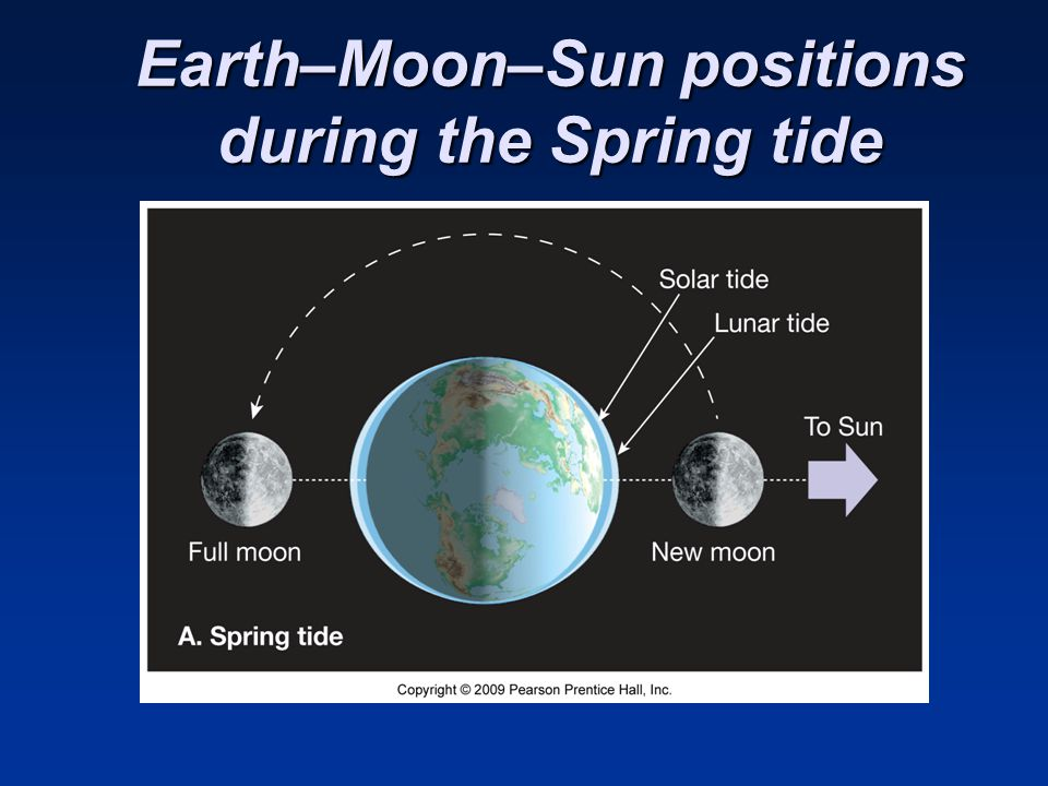 Earth–Moon–Sun positions during the Spring tide