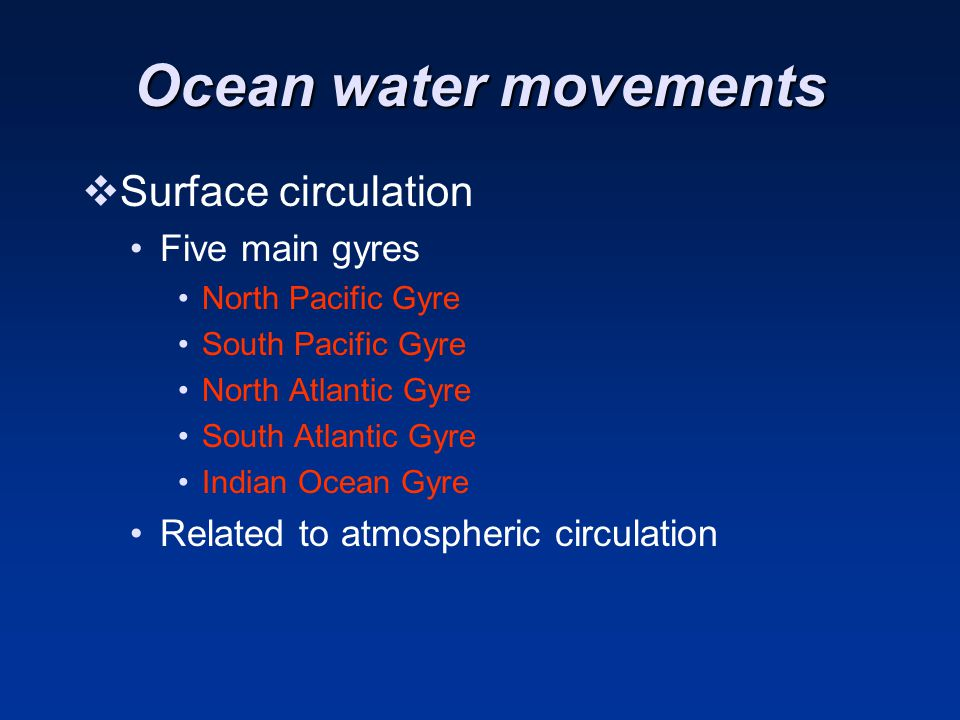 Ocean water movements Surface circulation Five main gyres