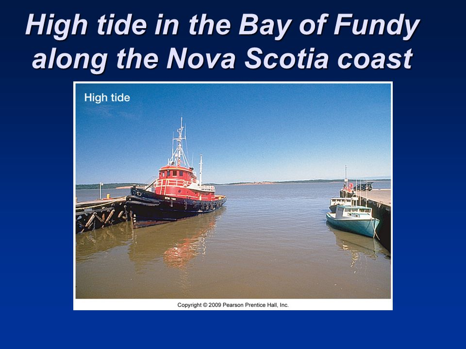High tide in the Bay of Fundy along the Nova Scotia coast