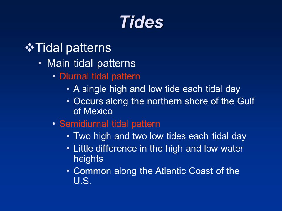 Tides Tidal patterns Main tidal patterns Diurnal tidal pattern
