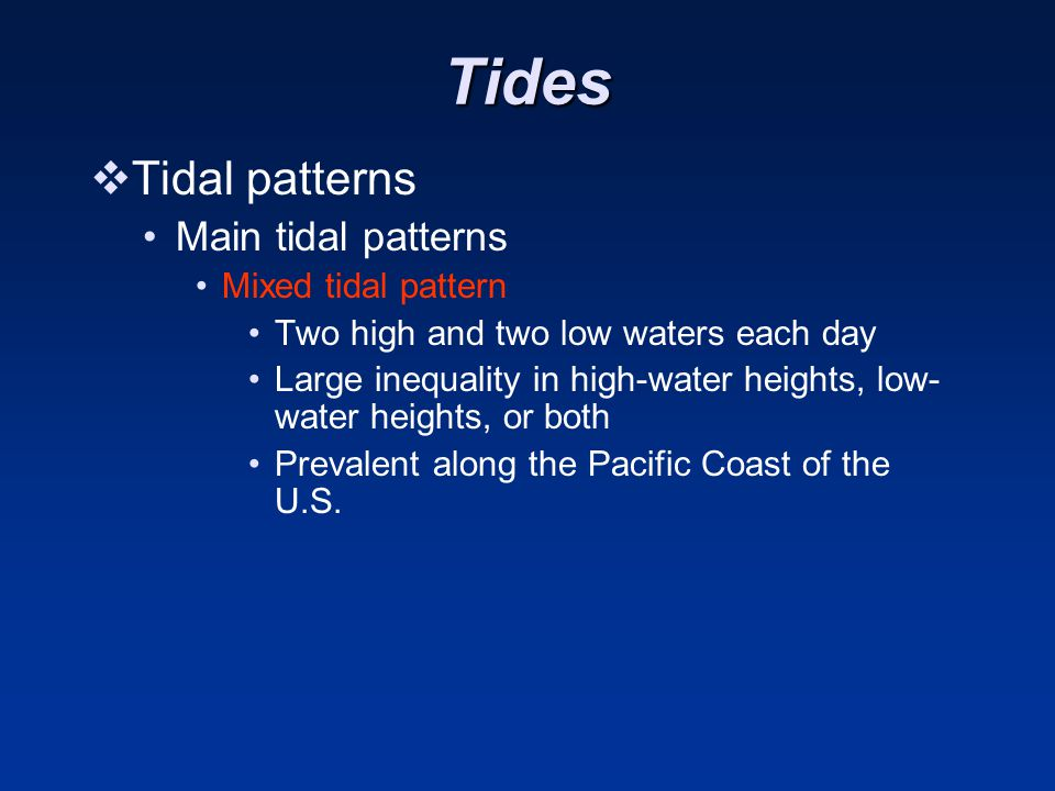 Tides Tidal patterns Main tidal patterns Mixed tidal pattern