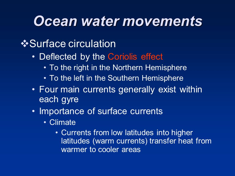 Ocean water movements Surface circulation