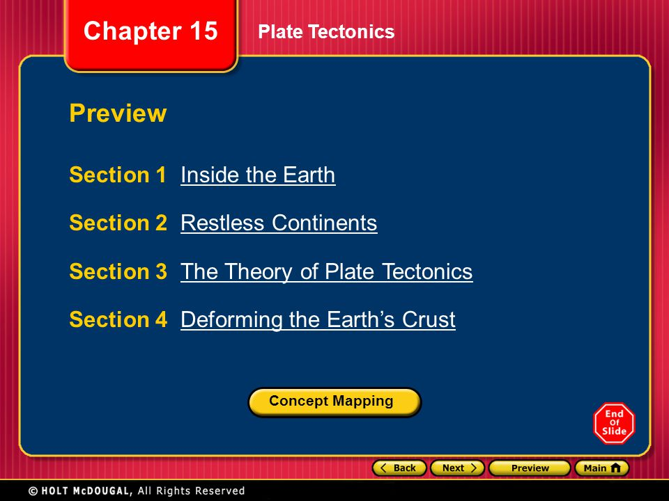 Preview Section 1 Inside the Earth Section 2 Restless Continents