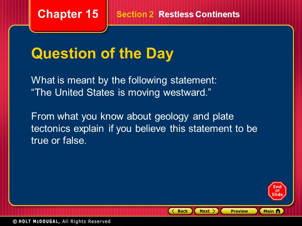Question of the Day What is meant by the following statement:
