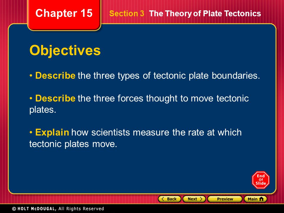 Objectives Describe the three types of tectonic plate boundaries.