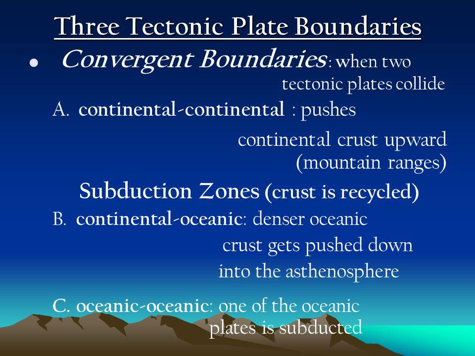 Three Tectonic Plate Boundaries