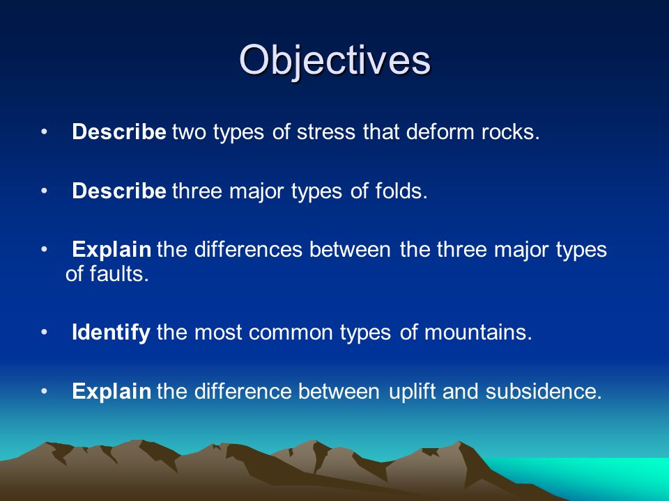 Objectives Describe two types of stress that deform rocks.