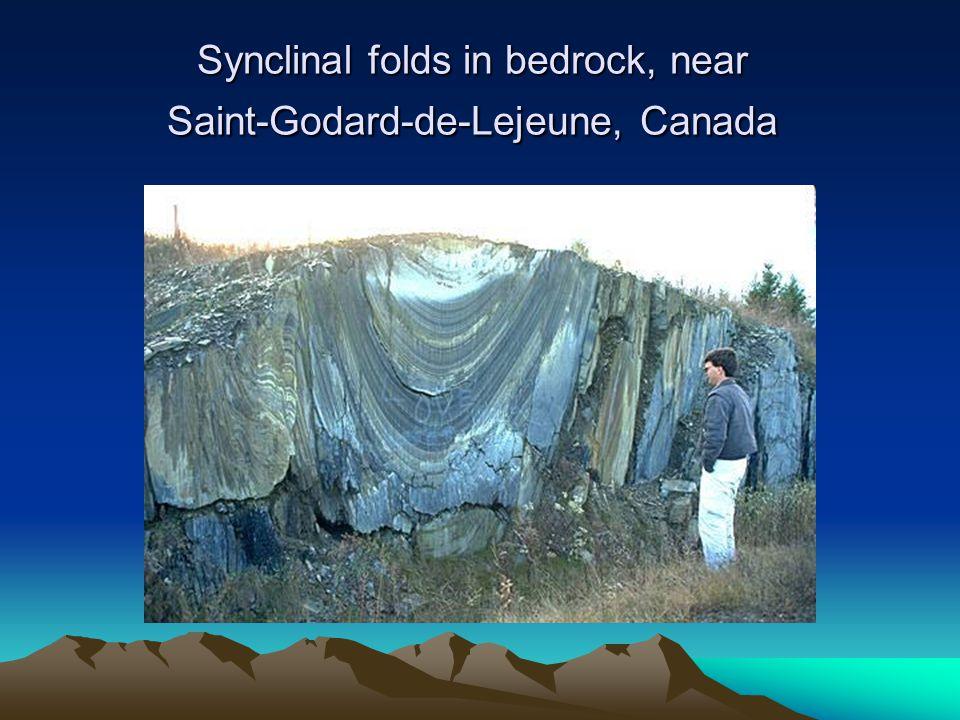 Synclinal folds in bedrock, near Saint-Godard-de-Lejeune, Canada