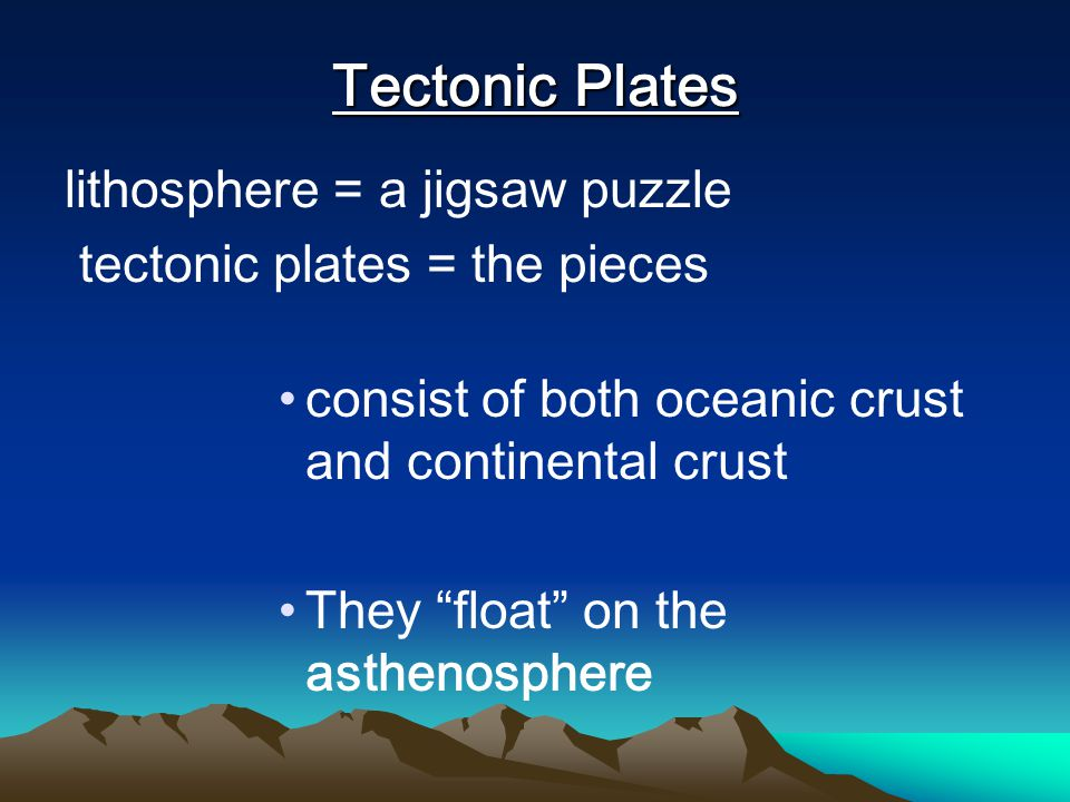 Tectonic Plates lithosphere = a jigsaw puzzle