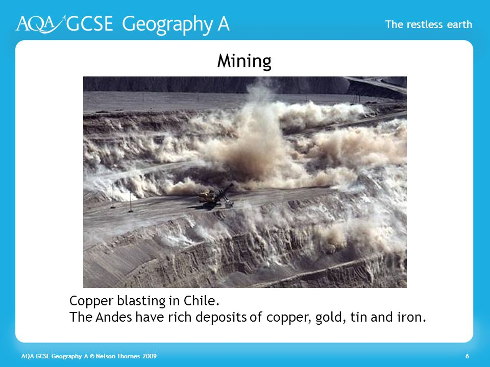 Mining Copper blasting in Chile. The Andes have rich deposits of copper, gold, tin and iron.