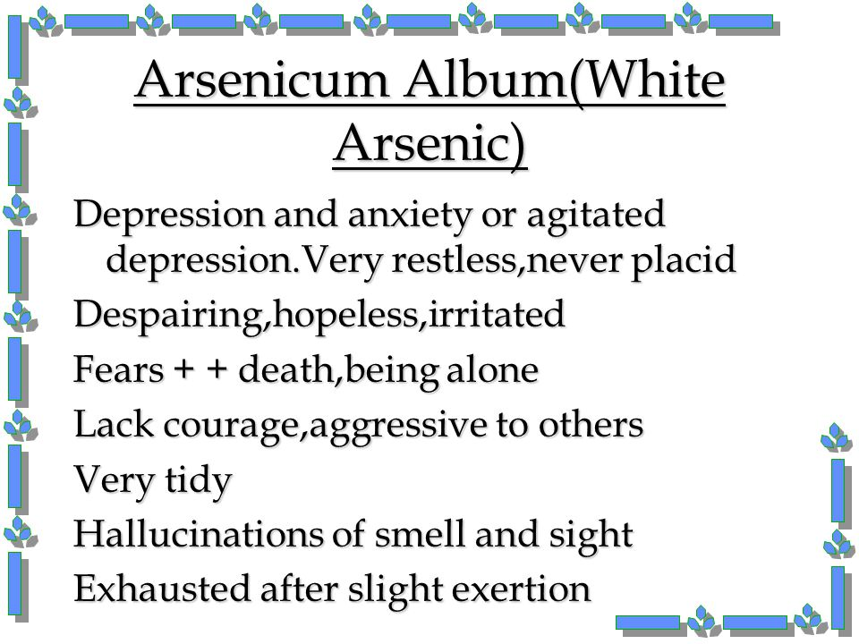 Arsenicum Album(White Arsenic)