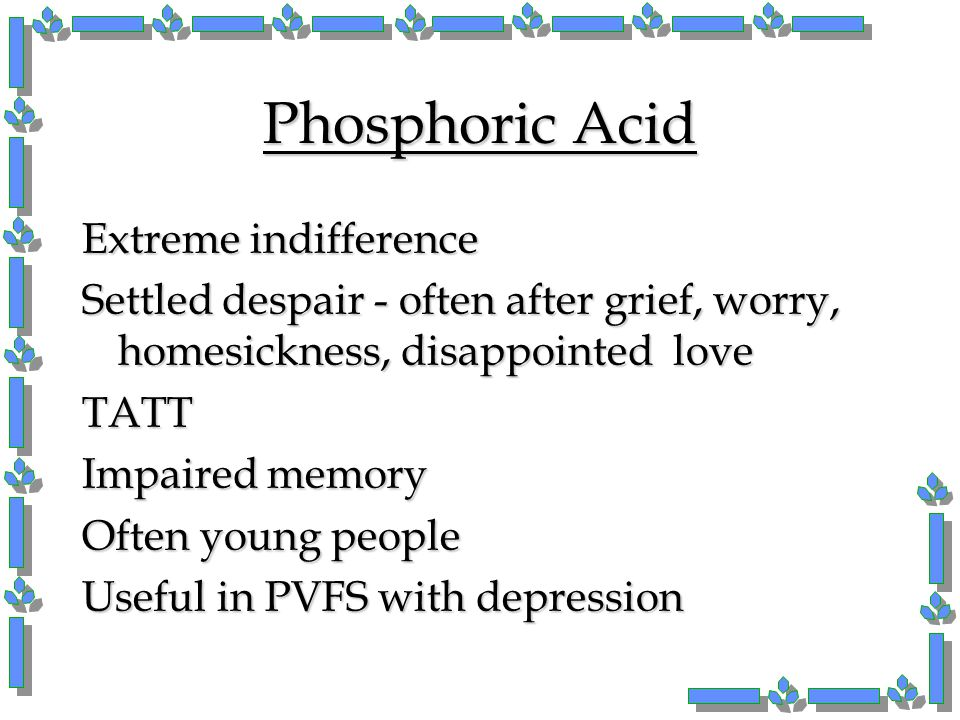 Phosphoric Acid Extreme indifference