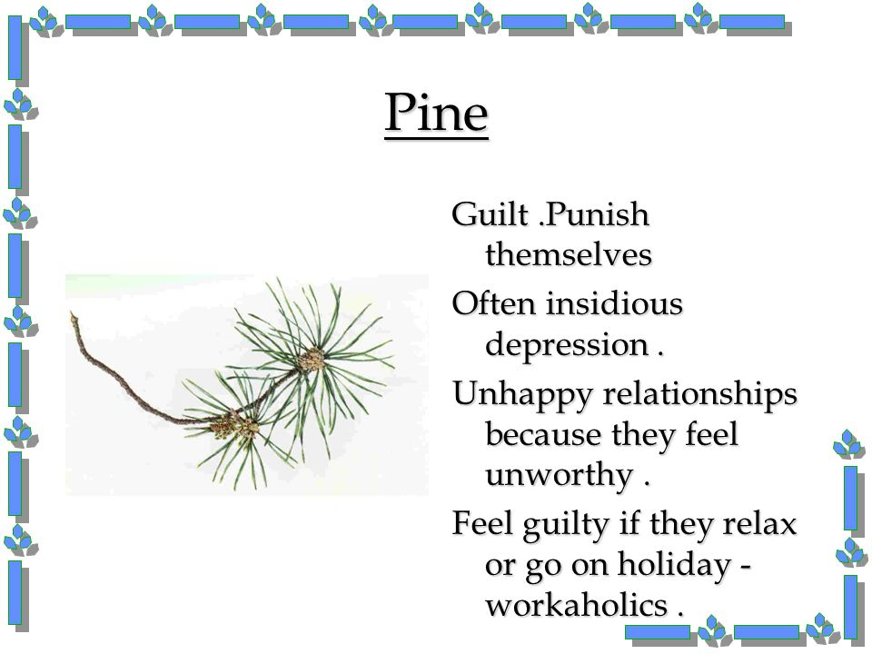 Pine Guilt .Punish themselves Often insidious depression .
