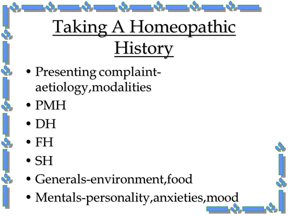 Taking A Homeopathic History