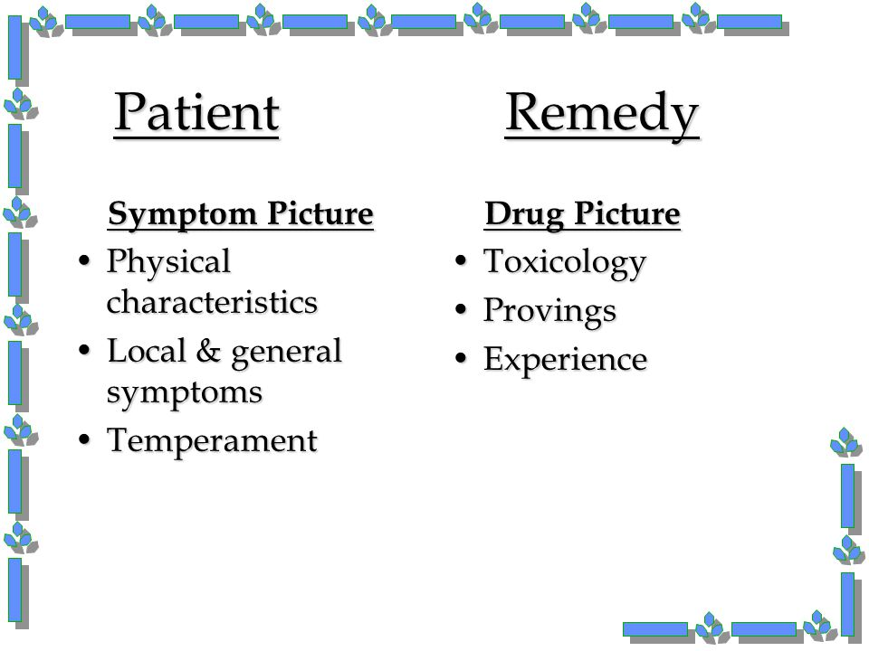 Patient Remedy Symptom Picture Physical characteristics