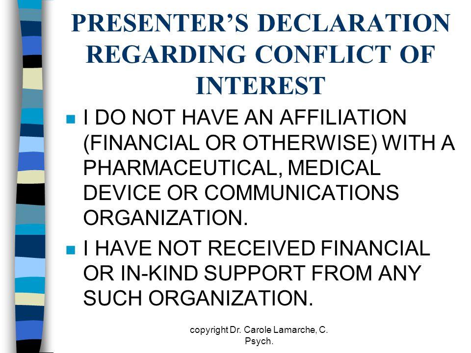 PRESENTER'S DECLARATION REGARDING CONFLICT OF INTEREST
