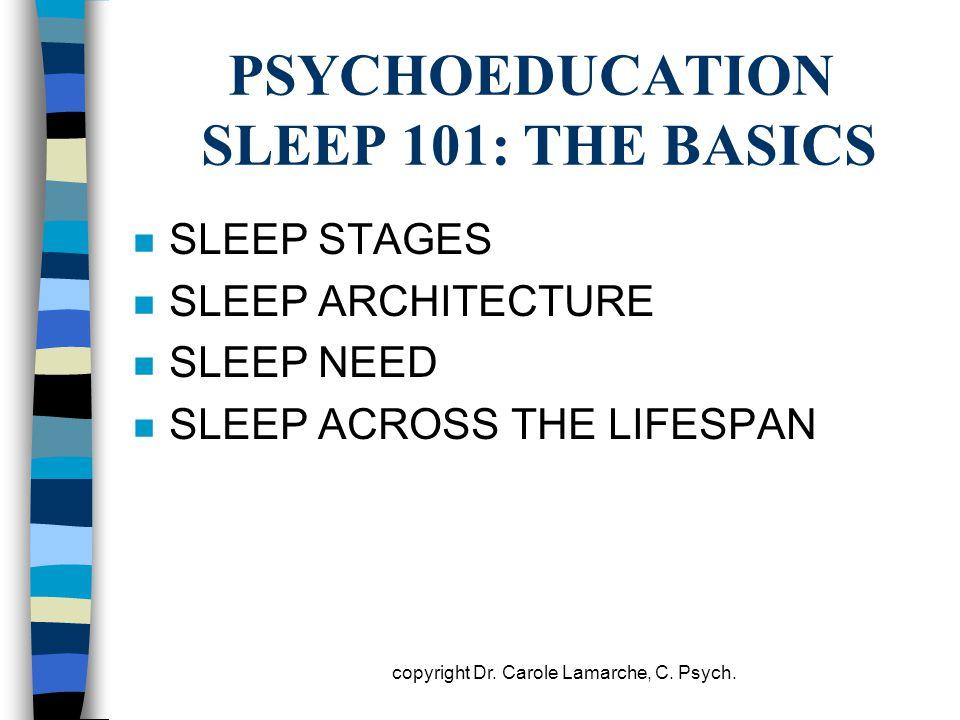 PSYCHOEDUCATION SLEEP 101: THE BASICS